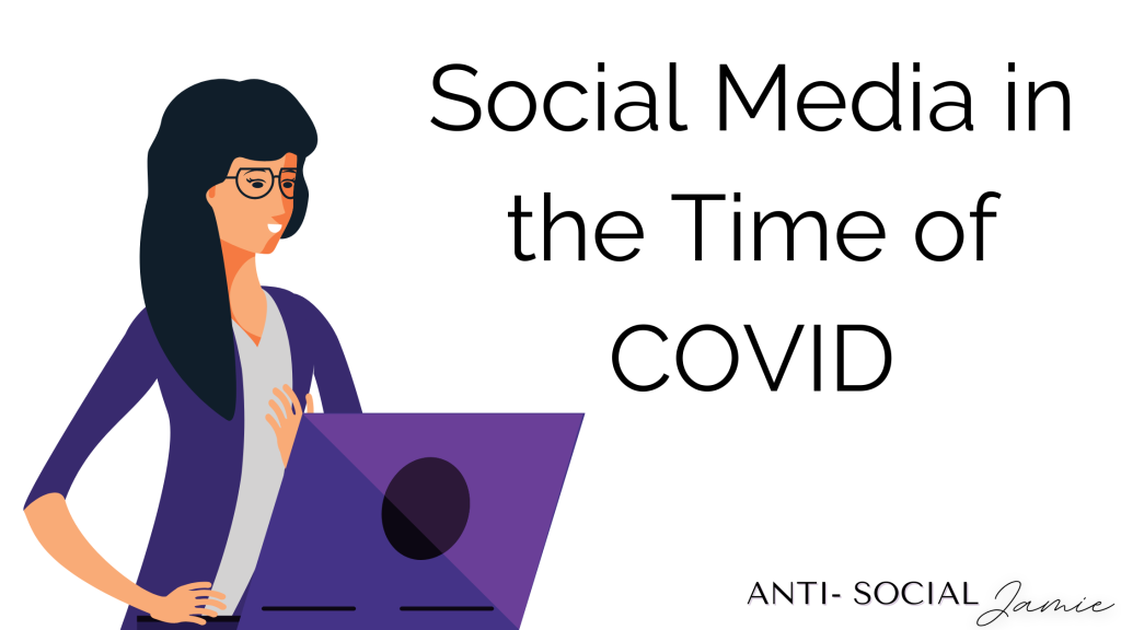 """A woman with dark hair and glasses looking at a laptop, the words """"Social Media in the Time of COVID"""" written across the graphics"""